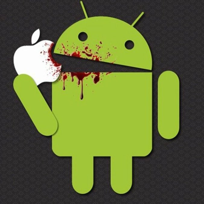Andriod eating apple